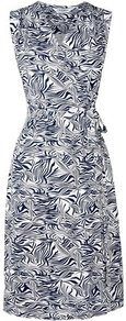 Gigi Wrap Dress White - style: faux wrap/wrap; neckline: v-neck; fit: tailored/fitted; sleeve style: sleeveless; waist detail: belted waist/tie at waist/drawstring; secondary colour: white; predominant colour: navy; occasions: casual, work, occasion; length: on the knee; fibres: viscose/rayon - stretch; sleeve length: sleeveless; trends: statement prints; pattern type: fabric; pattern size: standard; pattern: patterned/print; texture group: jersey - stretchy/drapey