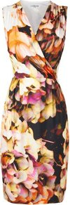 Teos Floral Print Dress Multi - style: shift; neckline: v-neck; sleeve style: sleeveless; waist detail: fitted waist; occasions: evening, occasion; length: on the knee; fit: body skimming; fibres: polyester/polyamide - 100%; predominant colour: multicoloured; sleeve length: sleeveless; trends: high impact florals; pattern type: fabric; pattern size: big & busy; pattern: florals; texture group: jersey - stretchy/drapey