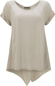 Wrap Back T Shirt, Camel - neckline: round neck; pattern: plain; style: t-shirt; predominant colour: camel; occasions: casual; length: standard; fibres: viscose/rayon - 100%; fit: loose; back detail: longer hem at back than at front; sleeve length: short sleeve; sleeve style: standard; texture group: cotton feel fabrics; pattern type: fabric; pattern size: standard