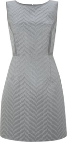 Jacquard Dress, Duck Egg - style: shift; length: mid thigh; neckline: round neck; fit: tailored/fitted; sleeve style: sleeveless; waist detail: fitted waist; predominant colour: silver; occasions: evening, work, occasion; fibres: cotton - mix; sleeve length: sleeveless; texture group: ornate wovens; pattern type: fabric; pattern size: standard; pattern: patterned/print