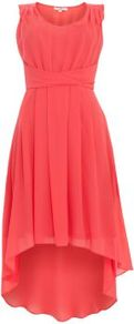 Coral Knot Front Chiffon Dip Hem Dress - neckline: round neck; fit: empire; pattern: plain; sleeve style: sleeveless; waist detail: structured pleats at waist; predominant colour: coral; length: just above the knee; style: asymmetric (hem); fibres: polyester/polyamide - 100%; occasions: occasion; hip detail: structured pleats at hip; sleeve length: sleeveless; texture group: sheer fabrics/chiffon/organza etc.; pattern type: fabric