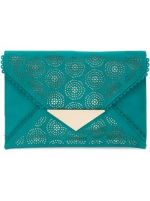 Turquoise Cut Out Envelope Clutch - predominant colour: teal; secondary colour: gold; occasions: evening, holiday; type of pattern: light; style: clutch; length: hand carry; size: standard; material: faux leather; finish: plain; pattern: patterned/print