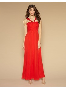 Janeiro Maxi Dress - neckline: low v-neck; pattern: plain; sleeve style: sleeveless; style: maxi dress; bust detail: ruching/gathering/draping/layers/pintuck pleats at bust; predominant colour: true red; occasions: evening, occasion; length: floor length; fit: fitted at waist & bust; fibres: silk - 100%; hip detail: soft pleats at hip/draping at hip/flared at hip; sleeve length: sleeveless; texture group: sheer fabrics/chiffon/organza etc.; pattern type: fabric; embellishment: beading