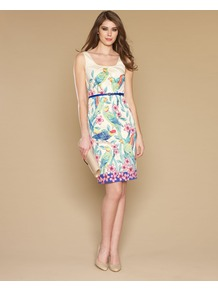 Parrot Print Dress - style: shift; sleeve style: standard vest straps/shoulder straps; fit: tailored/fitted; back detail: low cut/open back; waist detail: belted waist/tie at waist/drawstring; bust detail: ruching/gathering/draping/layers/pintuck pleats at bust; secondary colour: white; length: just above the knee; neckline: scoop; fibres: cotton - stretch; occasions: occasion; predominant colour: multicoloured; sleeve length: sleeveless; trends: statement prints; pattern type: fabric; pattern size: big & busy; pattern: patterned/print; texture group: jersey - stretchy/drapey