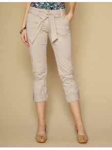 Clarissa Casual Trousers - pattern: plain; pocket detail: pockets at the sides; waist detail: belted waist/tie at waist/drawstring; waist: mid/regular rise; predominant colour: stone; occasions: casual, holiday; length: calf length; style: chino; fibres: cotton - stretch; texture group: cotton feel fabrics; fit: slim leg; pattern type: fabric
