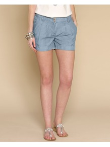 Tanya Tencel Shorts - pattern: plain; pocket detail: pockets at the sides; length: short shorts; waist: mid/regular rise; predominant colour: denim; occasions: casual, holiday; fibres: polyester/polyamide - 100%; hip detail: front pleats at hip level; texture group: cotton feel fabrics; fit: slim leg; pattern type: fabric; style: standard