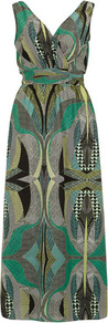 Green Graphica Maxi Dress - neckline: low v-neck; fit: empire; sleeve style: sleeveless; style: maxi dress; back detail: low cut/open back; waist detail: twist front waist detail/nipped in at waist on one side/soft pleats/draping/ruching/gathering waist detail; predominant colour: emerald green; secondary colour: mid grey; occasions: casual, evening, holiday; length: floor length; fibres: polyester/polyamide - 100%; sleeve length: sleeveless; texture group: sheer fabrics/chiffon/organza etc.; trends: statement prints, modern geometrics; bust detail: tiers/frills/bulky drapes/pleats; pattern type: fabric; pattern size: big & busy; pattern: patterned/print