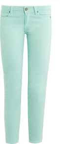 Kylie Mid Rise Crop Skinny Jeans - style: skinny leg; pattern: plain; pocket detail: traditional 5 pocket; waist: mid/regular rise; predominant colour: pistachio; occasions: casual, evening, holiday; length: calf length; fibres: cotton - stretch; texture group: denim; pattern type: fabric