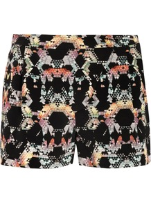 Kaleidoscope Print Shorts - style: shorts; length: short shorts; waist: mid/regular rise; predominant colour: black; occasions: evening; fibres: silk - 100%; texture group: crepes; fit: slim leg; pattern type: fabric; pattern size: big & busy; pattern: patterned/print