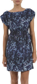 Blurred Floral Day Dress - style: shift; length: mid thigh; sleeve style: capped; fit: fitted at waist; waist detail: fitted waist; predominant colour: navy; occasions: casual, evening; fibres: viscose/rayon - 100%; neckline: crew; sleeve length: short sleeve; texture group: cotton feel fabrics; pattern type: fabric; pattern size: small & busy; pattern: patterned/print