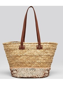 Tote Straw & Sequin Beach - predominant colour: stone; secondary colour: champagne; occasions: casual, holiday; style: tote; length: shoulder (tucks under arm); size: standard; material: macrame/raffia/straw; embellishment: sequins; pattern: plain; finish: plain