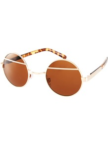 Split Round Sunglasses - predominant colour: gold; occasions: casual, holiday; style: round; size: standard; material: chain/metal; pattern: tortoiseshell; finish: metallic