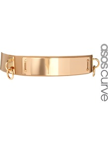 Curve Plate + Ring Waist Belt - predominant colour: gold; occasions: evening; type of pattern: standard; style: plaque; size: standard; worn on: waist; material: faux leather; pattern: plain; trends: metallics; finish: plain; embellishment: chain/metal