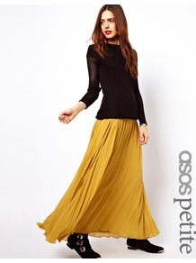 Petite Pleated Maxi Skirt - pattern: plain; fit: loose/voluminous; waist: mid/regular rise; predominant colour: mustard; occasions: casual, evening, occasion, holiday; length: floor length; style: maxi skirt; fibres: polyester/polyamide - 100%; hip detail: soft pleats at hip/draping at hip/flared at hip; texture group: sheer fabrics/chiffon/organza etc.; pattern type: fabric