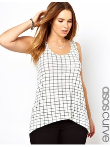 Curve Exclusive Swing Vest In Faded Check - sleeve style: sleeveless; pattern: checked/gingham; length: below the bottom; style: vest top; predominant colour: white; secondary colour: black; occasions: casual, holiday; neckline: scoop; fibres: viscose/rayon - stretch; fit: loose; sleeve length: sleeveless; pattern type: knitted - big stitch; pattern size: standard; texture group: jersey - stretchy/drapey