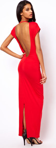 Maxi Dress With Low Back - neckline: slash/boat neckline; sleeve style: capped; pattern: plain; style: maxi dress; length: ankle length; back detail: cowl/draping/scoop at back; predominant colour: true red; occasions: evening, occasion; fit: body skimming; fibres: viscose/rayon - stretch; hip detail: slits at hip; sleeve length: sleeveless; pattern type: fabric; texture group: jersey - stretchy/drapey