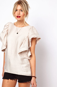Shell Top With Dramatic Ruffle Sleeves - neckline: round neck; sleeve style: angel/waterfall; pattern: plain; length: below the bottom; predominant colour: ivory; occasions: casual, evening, occasion, holiday; style: top; fit: straight cut; sleeve length: short sleeve; texture group: silky - light; trends: metallics; bust detail: tiers/frills/bulky drapes/pleats; pattern type: fabric; fibres: viscose/rayon - mix