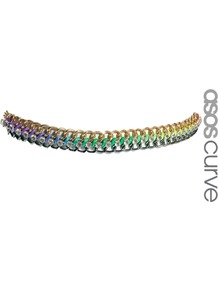 Curve Neon Chain Waist Belt - occasions: casual, evening; predominant colour: multicoloured; type of pattern: standard; style: chainlink; size: standard; worn on: waist; material: chain/metal; embellishment: crystals; finish: plain; pattern: colourblock