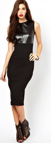 Sleeveless Midi Dress With Pu Panel - length: below the knee; fit: tight; pattern: plain; sleeve style: sleeveless; style: bodycon; hip detail: fitted at hip; predominant colour: black; occasions: evening; fibres: polyester/polyamide - stretch; neckline: crew; bust detail: contrast pattern/fabric/detail at bust; sleeve length: sleeveless; texture group: jersey - clingy; trends: glamorous day shifts; pattern type: fabric
