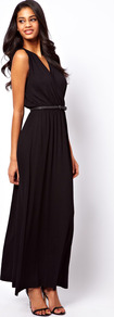 Maxi Dress With Wrap Front - neckline: low v-neck; fit: fitted at waist; pattern: plain; sleeve style: sleeveless; style: maxi dress; length: ankle length; waist detail: belted waist/tie at waist/drawstring; predominant colour: black; occasions: evening, occasion; fibres: viscose/rayon - stretch; sleeve length: sleeveless; pattern type: fabric; texture group: jersey - stretchy/drapey