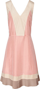 Jesse Fabric Panel Fit N Flare Dress - neckline: low v-neck; sleeve style: sleeveless; waist detail: fitted waist; back detail: low cut/open back; shoulder detail: contrast pattern/fabric at shoulder; bust detail: ruching/gathering/draping/layers/pintuck pleats at bust; secondary colour: ivory; predominant colour: blush; occasions: evening, occasion; length: just above the knee; fit: fitted at waist &amp; bust; style: fit &amp; flare; fibres: silk - 100%; hip detail: soft pleats at hip/draping at hip/flared at hip; sleeve length: sleeveless; texture group: silky - light; pattern type: fabric; pattern size: small &amp; light; pattern: colourblock