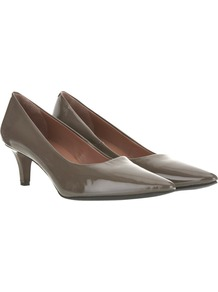 Patent Kitten Heel Court Shoes, Grey - predominant colour: charcoal; occasions: casual, evening, work; material: leather; heel height: mid; heel: kitten; toe: pointed toe; style: courts; finish: patent; pattern: plain