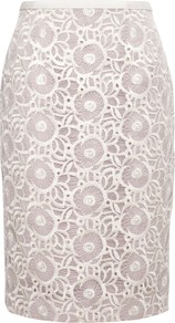 Coleta Skirt, Chalk - style: pencil; fit: body skimming; waist: mid/regular rise; predominant colour: ivory; occasions: evening, occasion; length: on the knee; fibres: polyester/polyamide - 100%; texture group: lace; pattern type: fabric; pattern size: standard; pattern: florals