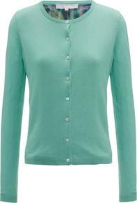 Arella Cardigan, Mint - neckline: round neck; pattern: plain; predominant colour: pistachio; occasions: casual, work; length: standard; style: standard; fibres: cotton - 100%; fit: slim fit; sleeve length: long sleeve; sleeve style: standard; texture group: knits/crochet; pattern type: knitted - fine stitch; pattern size: standard
