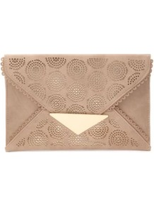 Nude Cut Out Envelope Clutch - predominant colour: nude; occasions: evening, holiday; type of pattern: small; style: clutch; length: hand carry; size: standard; material: faux leather; finish: plain; pattern: patterned/print