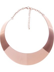 Pink Metallic Curve Plate Necklace - predominant colour: gold; occasions: evening, occasion; style: choker/collar; length: choker; size: standard; material: chain/metal; trends: metallics; finish: metallic