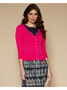 Eloise Broderie Trim Cardigan - neckline: low v-neck; pattern: plain; predominant colour: hot pink; occasions: casual, work; length: standard; style: standard; fibres: cotton - 100%; fit: slim fit; sleeve length: 3/4 length; sleeve style: standard; texture group: knits/crochet; pattern type: knitted - fine stitch