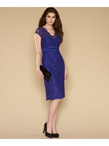 Layla Lace Dress - style: shift; neckline: low v-neck; sleeve style: capped; fit: tailored/fitted; pattern: plain; waist detail: embellishment at waist/feature waistband; predominant colour: royal blue; occasions: evening, occasion; length: on the knee; fibres: polyester/polyamide - 100%; sleeve length: short sleeve; texture group: lace; trends: glamorous day shifts; pattern type: fabric; embellishment: beading