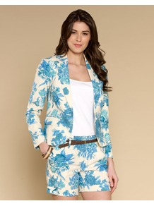 Charlotte Print Jacket - style: single breasted blazer; collar: standard lapel/rever collar; predominant colour: ivory; secondary colour: diva blue; occasions: casual, evening, work, occasion, holiday; length: standard; fit: tailored/fitted; fibres: linen - mix; sleeve length: long sleeve; sleeve style: standard; texture group: cotton feel fabrics; trends: high impact florals; collar break: medium; pattern type: fabric; pattern size: standard; pattern: florals