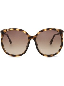 Callie Tortoiseshell Round Frame Sunglasses - predominant colour: chocolate brown; secondary colour: camel; occasions: casual, evening, work, occasion, holiday; style: round; size: large; material: plastic/rubber; pattern: animal print; finish: plain