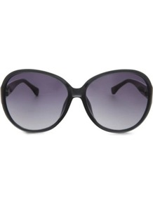 Karina Round Frame Sunglasses - predominant colour: black; secondary colour: black; occasions: casual, evening, work, occasion, holiday; style: round; size: large; material: plastic/rubber; pattern: plain; finish: plain