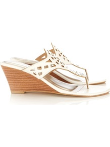 White Wedge Sandal - predominant colour: white; occasions: casual, work, holiday; material: faux leather; heel height: mid; heel: wedge; toe: toe thongs; style: slides; finish: plain; pattern: plain; embellishment: applique