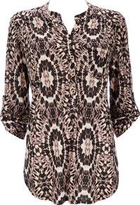 Stone Printed Shirt - style: blouse; bust detail: buttons at bust (in middle at breastbone)/zip detail at bust; predominant colour: chocolate brown; occasions: casual; length: standard; neckline: mandarin with v-neck; fibres: viscose/rayon - 100%; fit: body skimming; sleeve length: 3/4 length; sleeve style: standard; pattern type: fabric; pattern size: standard; pattern: patterned/print; texture group: jersey - stretchy/drapey