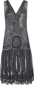 Flapper Dress - neckline: low v-neck; pattern: plain; sleeve style: sleeveless; style: drop waist; back detail: low cut/open back; predominant colour: charcoal; occasions: evening, occasion; length: just above the knee; fit: body skimming; fibres: nylon - 100%; sleeve length: sleeveless; texture group: silky - light; trends: metallics; pattern type: fabric; embellishment: beading