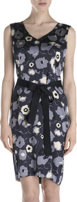 Cloud Print Silk Dress - style: shift; neckline: v-neck; sleeve style: sleeveless; waist detail: belted waist/tie at waist/drawstring; secondary colour: pale blue; predominant colour: navy; occasions: evening, occasion; length: just above the knee; fit: body skimming; fibres: silk - 100%; sleeve length: sleeveless; texture group: silky - light; trends: high impact florals; pattern type: fabric; pattern size: standard; pattern: florals