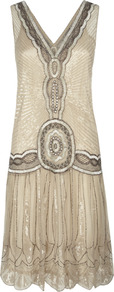 Flapper Dress - neckline: low v-neck; pattern: plain; sleeve style: sleeveless; style: drop waist; back detail: low cut/open back; predominant colour: champagne; occasions: evening, occasion; length: just above the knee; fit: body skimming; fibres: nylon - 100%; sleeve length: sleeveless; texture group: silky - light; trends: metallics; pattern type: fabric; embellishment: beading
