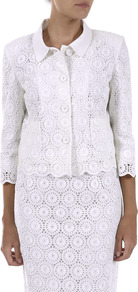Circle Broderie Anglaise Jacket - pattern: plain; style: single breasted blazer; predominant colour: white; occasions: evening, work, occasion; length: standard; fit: tailored/fitted; fibres: cotton - 100%; collar: shirt collar/peter pan/zip with opening; sleeve length: 3/4 length; sleeve style: standard; collar break: high/illusion of break when open; pattern type: fabric; texture group: broiderie anglais