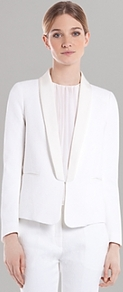 Jacket Vanille - pattern: plain; style: single breasted tuxedo; collar: shawl/waterfall; predominant colour: white; occasions: evening, work, occasion; length: standard; fit: tailored/fitted; sleeve length: long sleeve; sleeve style: standard; trends: tuxedo; collar break: low/open; pattern type: fabric; texture group: woven light midweight; fibres: viscose/rayon - mix