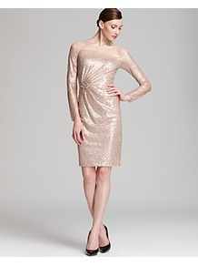 Sequin Dress Illusion Long Sleeve - style: shift; neckline: round neck; pattern: plain; waist detail: twist front waist detail/nipped in at waist on one side/soft pleats/draping/ruching/gathering waist detail; predominant colour: blush; occasions: evening, occasion; length: on the knee; fit: body skimming; fibres: polyester/polyamide - 100%; sleeve length: long sleeve; sleeve style: standard; pattern type: fabric; texture group: other - light to midweight; embellishment: sequins