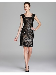 Dress Gold Underlay Sequin Lace - style: shift; sleeve style: capped; fit: tailored/fitted; waist detail: fitted waist; secondary colour: bronze; predominant colour: black; occasions: evening, occasion; length: just above the knee; neckline: scoop; fibres: polyester/polyamide - 100%; sleeve length: sleeveless; texture group: lace; pattern type: fabric; pattern: patterned/print; embellishment: sequins