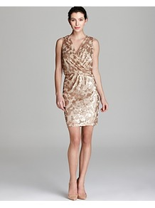 Dress V Neck Sequin Blouson - style: faux wrap/wrap; length: mid thigh; neckline: low v-neck; fit: fitted at waist; sleeve style: sleeveless; waist detail: fitted waist; bust detail: ruching/gathering/draping/layers/pintuck pleats at bust; secondary colour: ivory; predominant colour: nude; occasions: evening, occasion; sleeve length: sleeveless; texture group: lycra/elastane mixes; pattern type: fabric; pattern size: standard; pattern: patterned/print; embellishment: sequins; fibres: nylon - stretch
