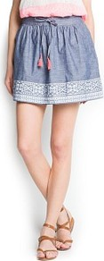 Ethnic Print Denim Skirt - length: mini; fit: loose/voluminous; style: pleated; waist: high rise; waist detail: belted waist/tie at waist/drawstring; secondary colour: pink; predominant colour: denim; occasions: casual, holiday; fibres: cotton - 100%; hip detail: soft pleats at hip/draping at hip/flared at hip; texture group: denim; pattern type: fabric; pattern size: small &amp; light; pattern: patterned/print
