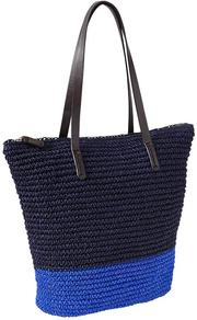 Colorblock Straw Tote - secondary colour: diva blue; predominant colour: navy; occasions: casual, holiday; type of pattern: standard; style: tote; length: shoulder (tucks under arm); size: standard; material: macrame/raffia/straw; finish: plain; pattern: colourblock