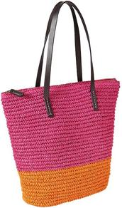 Colorblock Straw Tote - predominant colour: hot pink; secondary colour: bright orange; occasions: casual, holiday; type of pattern: standard; style: tote; length: shoulder (tucks under arm); size: standard; material: macrame/raffia/straw; finish: plain; pattern: colourblock