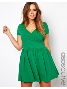 Curve Exclusive Skater Dress With Ballet Wrap And Short Sleeve - style: faux wrap/wrap; length: mid thigh; neckline: low v-neck; pattern: plain; waist detail: fitted waist; bust detail: ruching/gathering/draping/layers/pintuck pleats at bust; predominant colour: emerald green; occasions: casual, evening; fit: body skimming; fibres: cotton - stretch; sleeve length: short sleeve; sleeve style: standard; pattern type: fabric; texture group: jersey - stretchy/drapey
