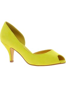 Sugar Cube Heels With Peep Toe - predominant colour: lime; occasions: evening, occasion; material: fabric; heel height: mid; heel: stiletto; toe: open toe/peeptoe; style: courts; finish: plain; pattern: plain